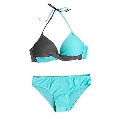 55d91a099a Amazon.com: Kulywon Women High Cut Bandeau Tropical Leaf Printed Strapless Swimsuits  Bikini Set: Clothing