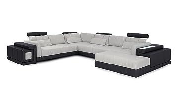 Leder Wohnlandschaft Xxl Grau Schwarz Stoff Sofa Couch U Form