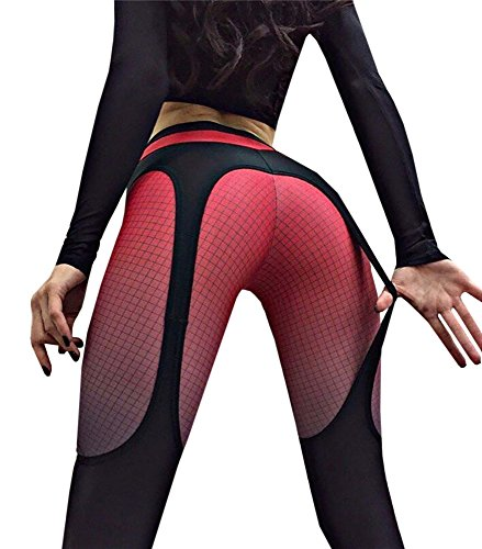 Remikstyt Womens Thigh Mesh Ombre Leggings Yoga Pants High Waist Tummy Control
