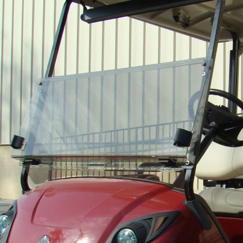 (NEW IN BOX YAMAHA DRIVE G29 TINTED WINDSHIELD WITH FOLDING ACRYLIC FOR GOLF CARTS)