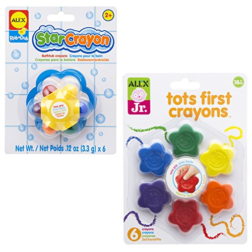 ALEX Toys Tots First Crayons and Star Bath (2 Pack) Crayon, Multicolor ()