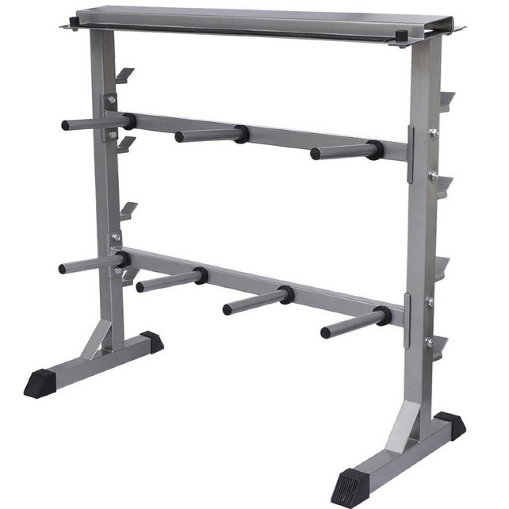 Anself 2 Tier Barbell Dumbbell Rack Weights Storage Stand, Gray by Anself