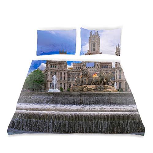 Plaza De Cibeles Duvet Cover, 100% Cotton, Invisible Zipper, for Kids Twin Bedding Decoration Gift (Twin 66
