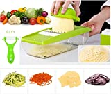 #8: Mandoline Slicer+Peeler, Kitchen Vegetable Slicer Vegetable Grater Vegetable Cutter Julienne Slicer Potato Slicer Food Slicer Cheese Chopper Veggie Cutter for Cucumber With 5 Interchangeable Blades
