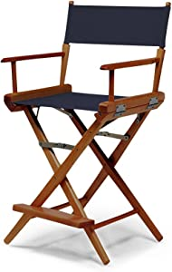 Telescope Casual 153313C01 World Famous Counter Height Director Chair, Navy with Walnut Frame