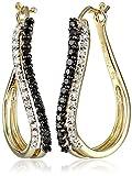10K Yellow Gold Black and White Diamond Hoop Earrings (1/2 cttw)