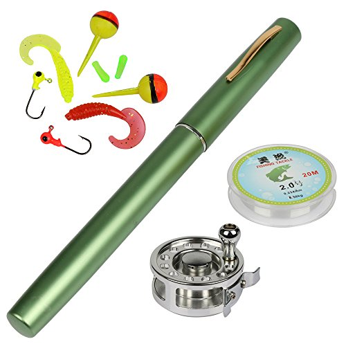 YOGAYET Mini Pocket Ice Fly Fishing Rod and Reel Combos Set Aluminum Alloy Pen Fishing Pole 38'' Sea Saltwater Freshwater Kit Green (Ice Fishing Fly Reel)