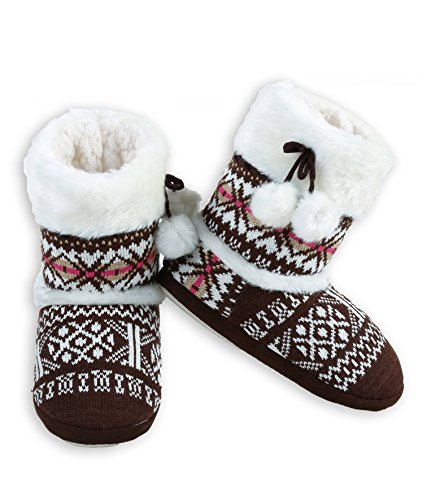 weater Knit Bootie Slipper with Faux Fur Trim (Brown Fair Isle, Medium/Large, 8-10 US) ()