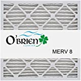 20X20X1 MERV 8 Air Filter (6 Pack)- OBrien Clean Air 20x20x1 (Nominal) 19 1/2x19 1/2x3/4(Actual Size)
