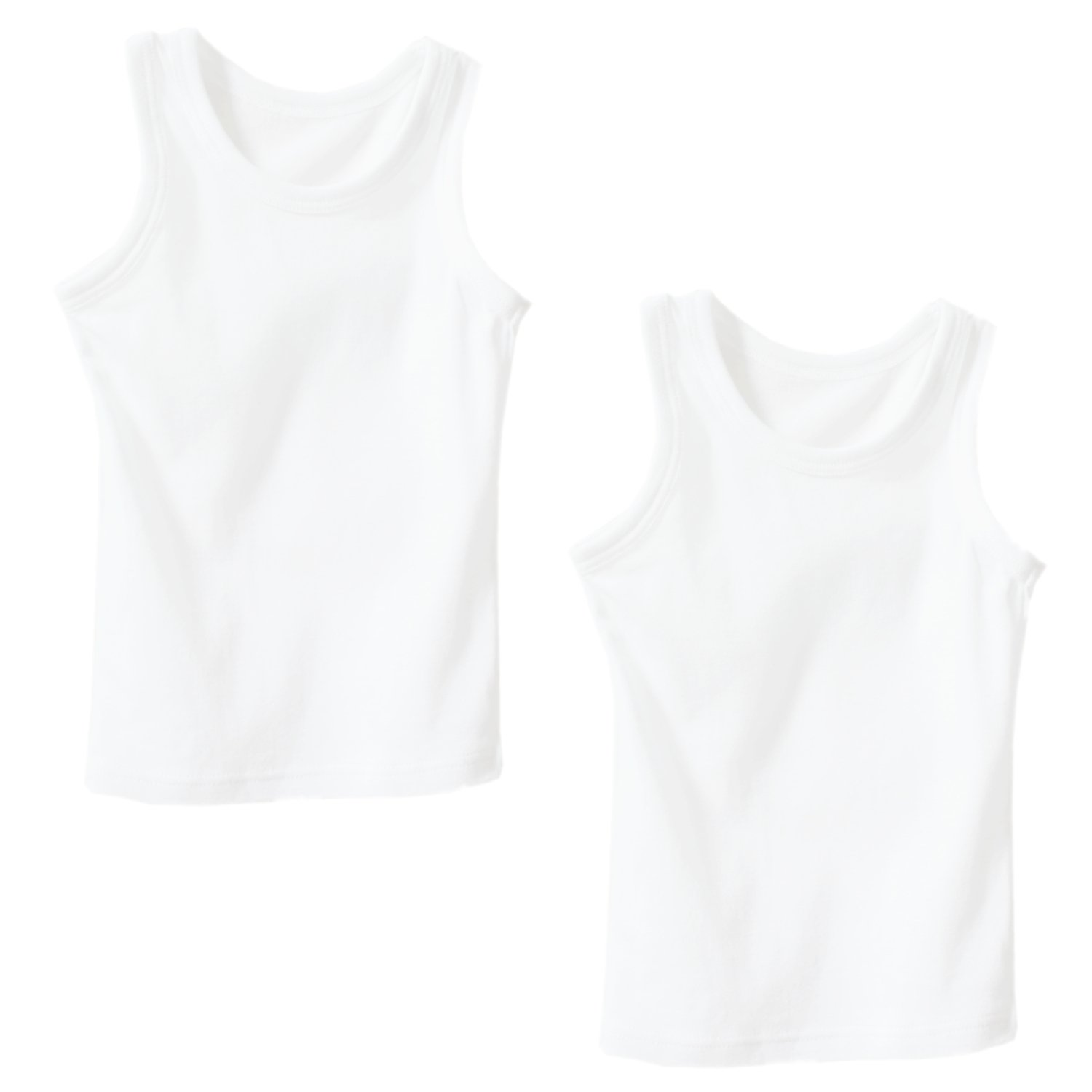 VeaRin Little Boys Toddler Tank Top Undershirts White 2 Pack (3T-4T)