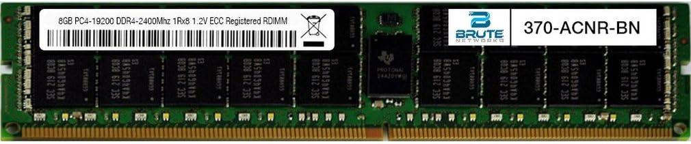 Equivalent to OEM PN # 370-ACNR Brute Networks 370-ACNR-BN 8GB PC4-19200 DDR4-2400Mhz 1Rx8 1.2v ECC Registered RDIMM