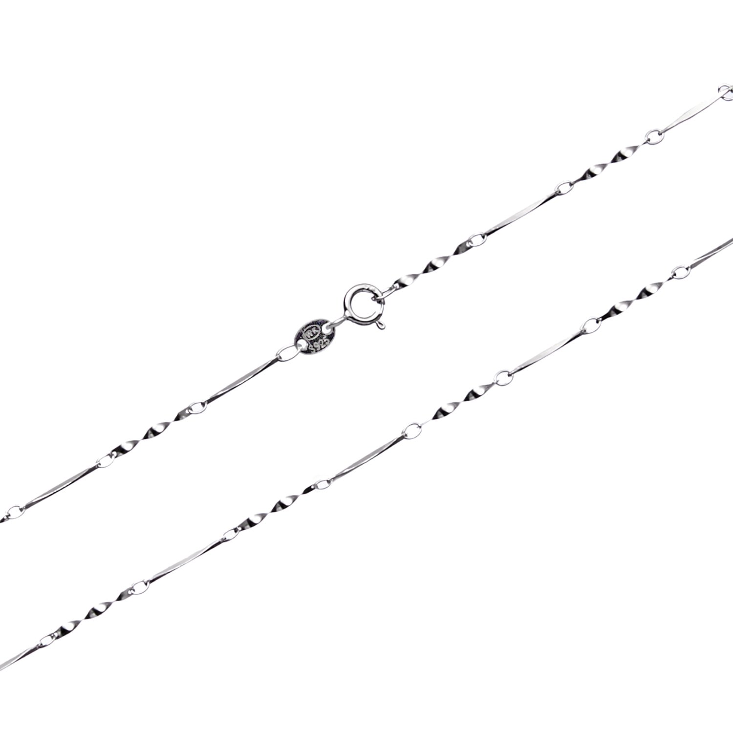 Wellme Sterling Silver Twisted Piece Link Chain Necklace, 16''-24'' (0.7mm Width 18 Inches)