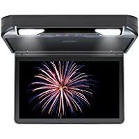 DDAUTO DD1336B Overhead DVD Player 13.3 inch IPS screen 1080P HD Flip Down Multimedia Player for Car Built in USB, SD, HDMI, Games, Door LED, BLACK