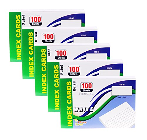 Index Cards, 4x6-Inch, Ruled, White, 100-Count per Package from Northland Wholesale. (5 Packs of 100) by Northland Wholesale