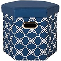 Glitzhome Foldable Oxford Hexahedron Storage Ottoman with Padded Seat, Navy Blue