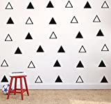 64pcs/set Modern Vinyl Triangles Wall Decal Solid/Outline triangles Pattern Wall sticker DIY Home Decor Kids/Children Room Decor Stickers YYU-18 (Black)