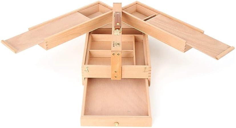 Ling AI DA MAI Caja portátil de Pintura al óleo para bocetos, Caballete Plegable de Madera para bocetos, Caja de Herramientas múltiples con Pintura de Caja de Dibujo de cajón: Amazon.es: Hogar