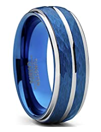 Men's Two Tone Blue Hammered Brushed Tungsten Wedding Ring, 8mm Comfort Fit Band Sizes 7 to 15