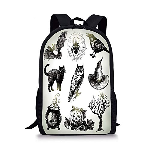 School Bags Vintage Halloween,Halloween Related Pictures Drawn by Hand Raven Owl Spider Black Cat Decorative,Black White for Boys&Girls Mens Sport Daypack -