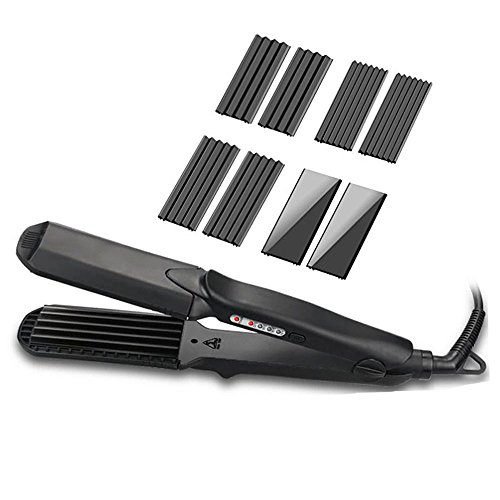 Crimping Iron 4 Kinds Ceramic Plate Set 2-1 Curling and Straightening Iron Flat Mini Small Loose Wave Hair Crimper for Woman / Man / Kids Fluffy African Barrel Corn Waver Irons Hair Crimper Iron