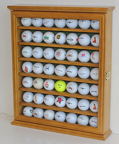 Golf Ball Display Case Cabinet Holder Rack Stand, Solid Wood ()