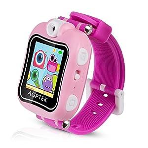 AGPTEK Smartwatch Montre Intelligente pour Enfant avec Caméra de 90 Degré et Jeux, Vidéo, Audio, Chronomètre , Enregistreur, Rose