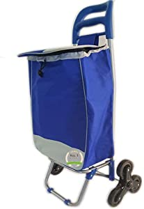 #1 Super Duty Stair Climber Rolling Shopping Utility Cart Dolly Trolley Multipurpose Tri Wheel 40LB Capacity Knapsack Bag Laundry Grocery Drawstring Rubber Lightweight & Easy Hauler-Assorted Colors
