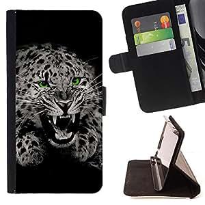 DEVIL CASE - FOR LG Nexus 5 D820 D821 - Fangs Black White Leopard Spots Fur Roar - Style PU Leather Case Wallet Flip Stand Flap Closure Cover