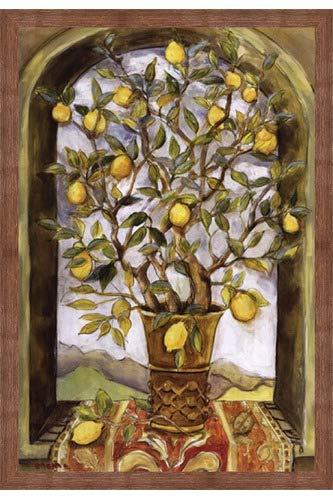 Framed Lemon Branch Bouquet- 24x36 Inches - Art Print (Brown Barnwood Frame)