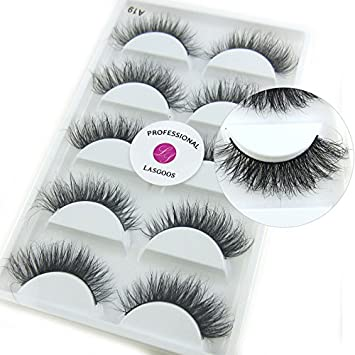 36a580d06bb Amazon.com : A19 5 Pairs/Box Luxurious 100% Siberian Mink Fur 3D False  Eyelash LASGOOS Messy Corner Thick Volume Fake Eyelashes : Beauty