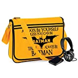 Always Be Batman-Unisex Funny Jokes Sayings Bagbase Retro Messenger Bag-GLD-BLK For Sale