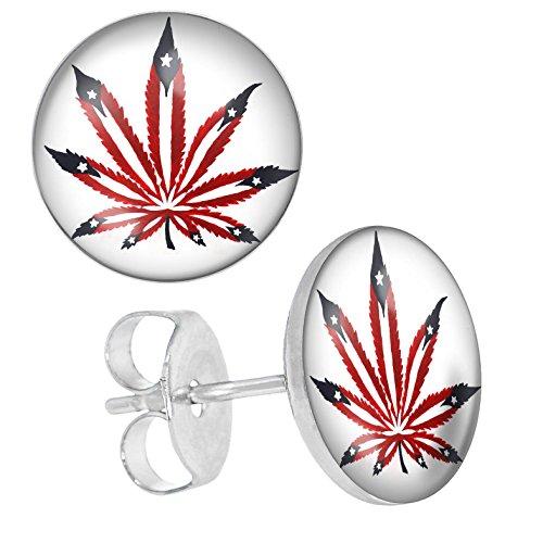 lilments Rouge mauvaises herbes Cannabis leaf Boucles d'oreilles clous en acier inoxydable pour homme femme