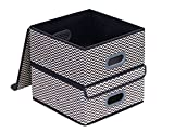 Onlyeasy Set of 2 Storage Bins - Fabric Foldable Storage Organizers Baskets with Lids and Handles Container for Books Toys DVDs Organization, 13''x13'', Stripe, 8MXBLB2P