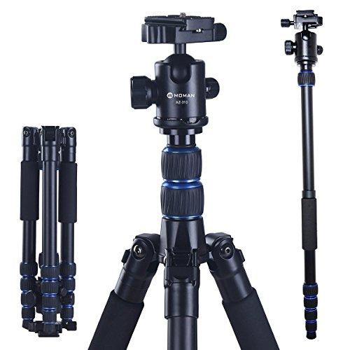 Camera Tripod Monopod Alpenstock with Ball Head, Foldable Axis Inversion Design, Aluminum Alloy, for DSLR (Canon, Nikon, Pentax, Sony, Leica, Fuji, Lumix, Olympus)