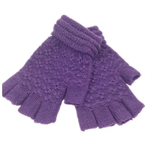 WINKO Winter Fingerless Gloves With or Without Mitten Flap Cover, Purple
