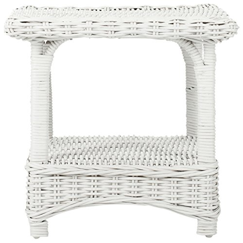 Safavieh Home Collection Bowen Wicker Side Table, White