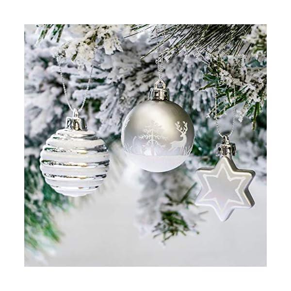 Victor's Workshop Addobbi Natalizi 35 Pezzi 5cm Palle di Natale, Frozen Winter Silver e White Shatterproof Christmas Ball Ornaments Decoration for Christmas Tree Decor 4 spesavip