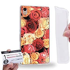 Case88 [Sony Xperia Z3+ / Z4] Gel TPU Carcasa/Funda & Tarjeta de garantía - Art Design Red and Champagne Rose 1400