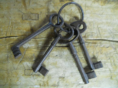 Set Of 4 Cast Iron Jail Keys House Rustic Western Prison Key Ring Lock Skeleton (Cast Horse Bench Iron)