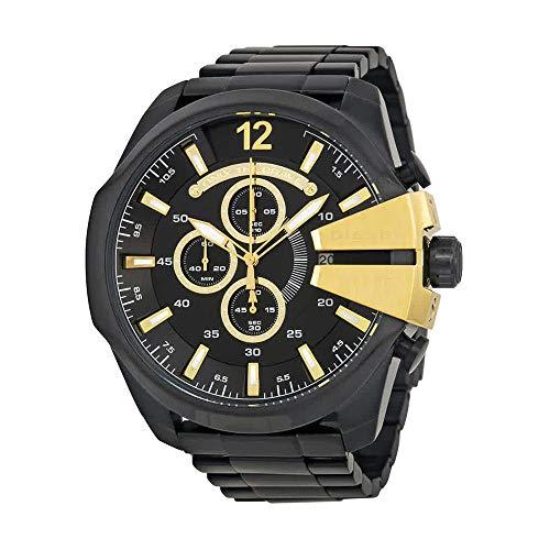 Chronograph Watch Diesel (Diesel Men's Mega Chief Quartz Stainless Steel Chronograph Watch, Color: Black (Model: DZ4338))