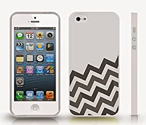 iStar Cases? iPhone 5/5S Case with Chevron Pattern Silver/ Grey Stripe Black , Snap-on Cover, Hard Carrying Case (White) by icecream design