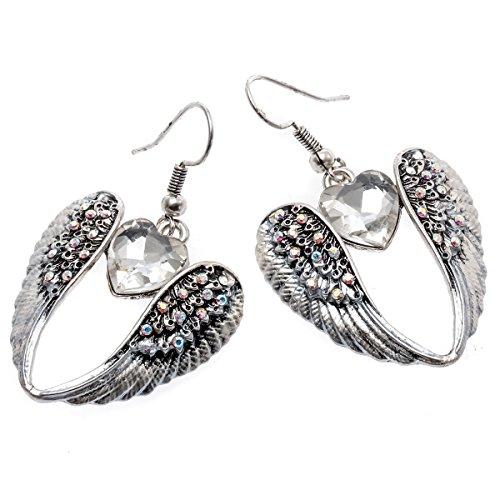 Szxc Jewelry Women Guardian Angel Wings Heart Dangle Earrings