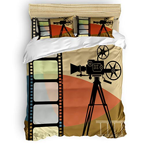 - vnurhfmvn Duvet Cover Set Printed 4 Pcs Bedding Set King Size Include Duvet Cover, Bed Sheet, Pillow Shams Film Projector Movie Poster Soft Quilt Sets for Children/Adults