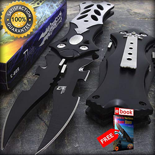 8.5'' Mtech USA Midnight Black Dual Razor Sharp Blade Fantasy Pocket Folding Knife Combat Tactical Knife + eBOOK by Moon Knives (Blade Warthog Folding Knife)