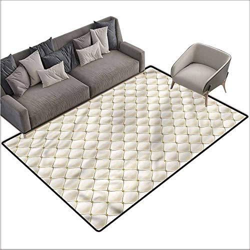(Bathroom Carpet Cream,Knitting Inspired Rhombus 60