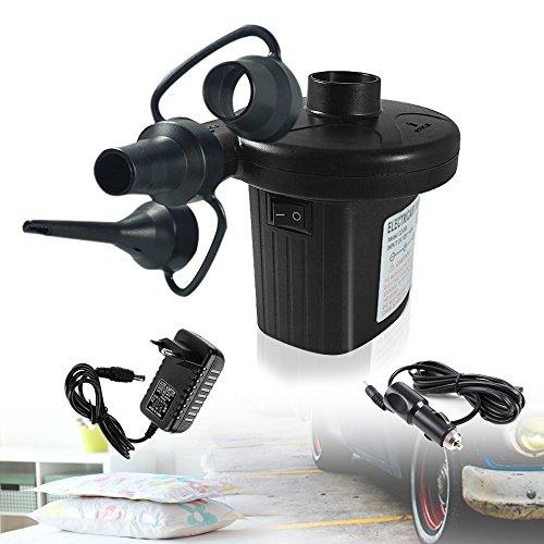 ilauke Elektrische Luftpumpe DC12V AC230V Pumpe Gebläsepumpe fürs Auf- & Abpumpen mit 3 Adaptern Camping Outdoor für 12V Zigarettenanzünder oder 230V Euro-Stecker (schwarz AC/DC)