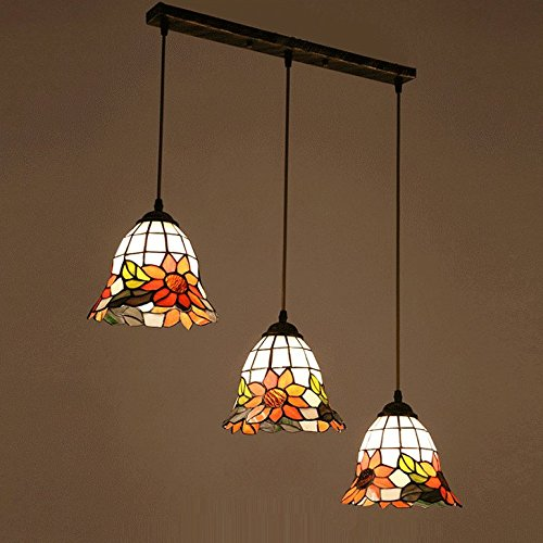 Tiffany Sunflower Glass Dining Room Ceiling Pendant Light Round Top European Restaurant Bar Counter Pendant Lamp American Country Rustic Glass Hanging Lamp (Oblong Top)