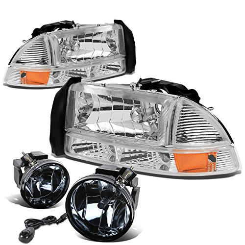 Dodge Dakota/Durango 4pcs Chrome Headlight+Bumper Light Amber Corner + Pair of Bumper Driving Fog Light Clear Lens Dodge Dakota Corner Light