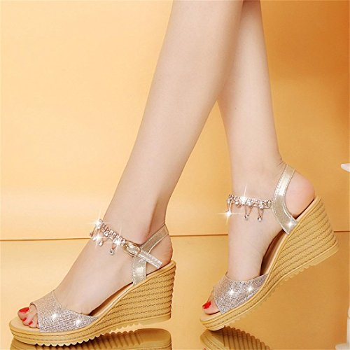 Utility Platform Gold Club Heels Round for Footwear Toe Roman for Wedge Closed Court Gladiator Work Toe High Sandals Sparkly Women Office Buckle VEMOW Party Platform Slope Shoes wqRxFYBanY