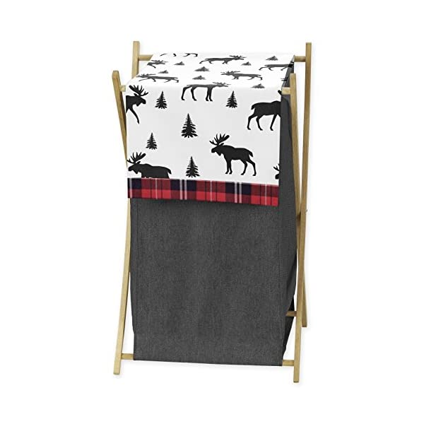 Sweet Jojo Designs Grey, Black and Red Woodland Plaid and Moose Baby Kid Clothes Laundry Hamper for Rustic Patch Collection